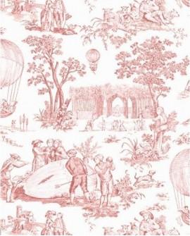 Tissu Toile de Jouy Charles Burger Ballon de Gonesse Rose 4257-101