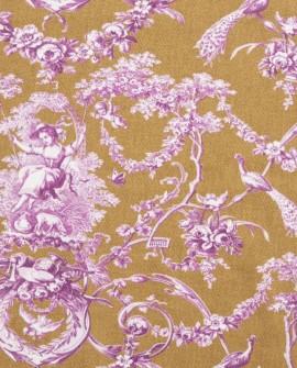 Tissu Thevenon Toile de Jouy Ludivine violet fond camel