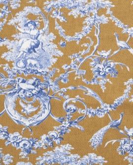 Tissu Thevenon Toile de Jouy Ludivine bleu fond camel