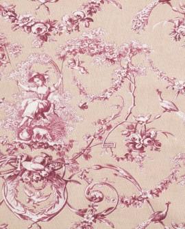 Tissu Thevenon Toile de Jouy Ludivine fond rose poudre