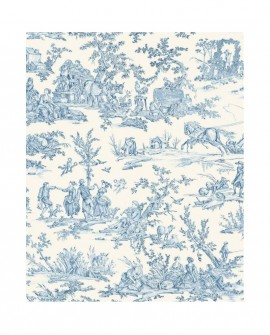 Rideau Toile de Jouy Thevenon 4 Saisons Bleu 2161602