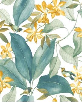 Tissu Tropical Delicacy Casadeco Birdsong Vert et Jaune DELY85442252