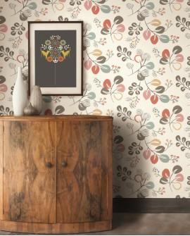 Papier peint scandinave Lutece Séjours et Chambres Feuillage naif Rouge FD25122