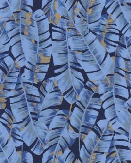 Papier peint tropical Botanica Casadeco Folium Bleu encre BOTA85946755