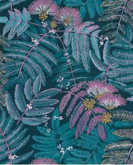 Papier peint tropical Botanica Casadeco Albizia Bleu turquoise BOTA85896164