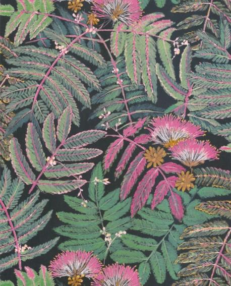 Papier peint tropical Botanica Casadeco Albizia Rose vert BOTA85897490