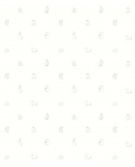 Papier peint enfant Lutèce Tartine & Chocolat Animaux gris 36200119