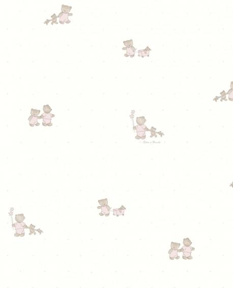Papier peint enfant Lutèce Tartine & Chocolat Gaston L'Ourson Rose 12091703