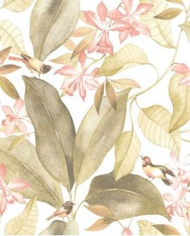 Tissu Tropical Delicacy Casadeco Birdsong Vert et Rose DELY85447353