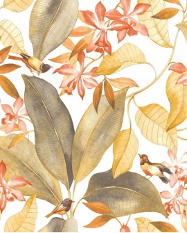 Tissu Tropical Delicacy Casadeco Birdsong Noir et jaune DELY85449555