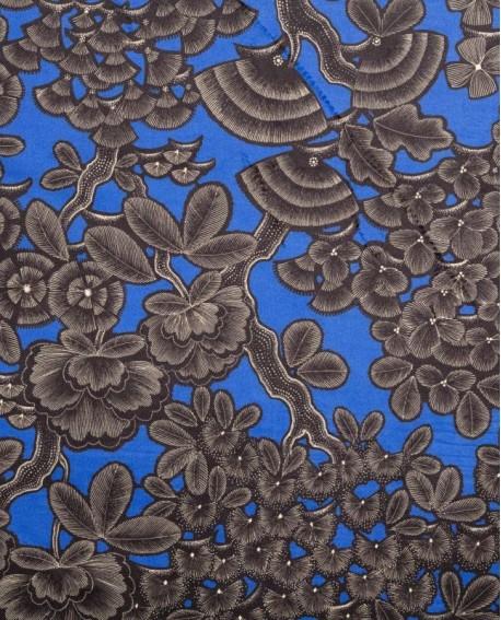 Tissu Thevenon Kew gardens fond bleu electrique sur velours