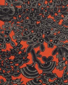 Tissu Thevenon Kew gardens fond corail