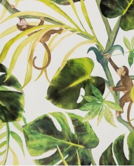 Papier peint Clarke & Clarke Colony Monkey Business Natural W0083/04
