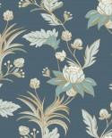 Papier peint floral Caselio Dream Garden Elegance Bleu nuit doré DGN102276120