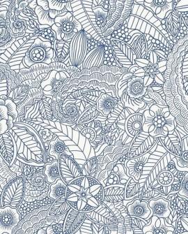 Papier peint Esta Home Cabana Flower Bleu 148615