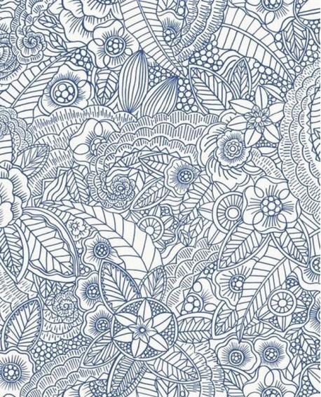 Papier peint Rasch Cabana Flower Bleu 140-148615