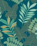 Papier peint exotique Caselio Escapade Voyage Bleu nuit doré EPA102326618