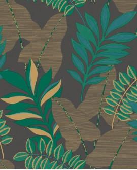 Papier peint exotique Caselio Escapade VoyageNoir Vert EPA102329779
