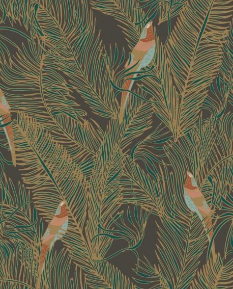 Papier peint exotique Caselio Dream Garden Enchantment Vert irisé fond noir DGN102257280