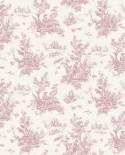 Papier peint Lutece Abby Rose 4 Toile de Jouy Vieux rose AF37705