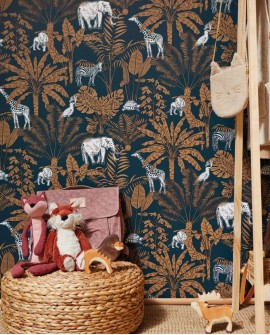 Papier peint enfant Our Planet Caselio Jungle Trip Vert d'eau OUP101957121