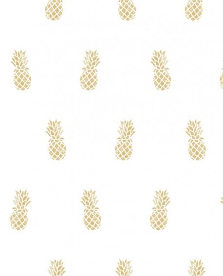 Papier peint exotique Montecollino Ananas doré 11008