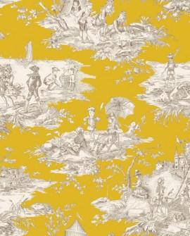 Rideau Thevenon Toile de Jouy Histoire d'Eau fond moutarde