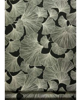 Papier peint exotique Rasch Ginko doré fond noir 462234