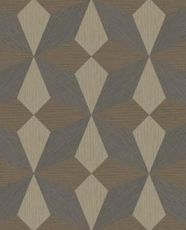 Papier peint géométrique Lutèce Architecture Géo Paille Marron FD25303