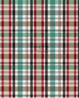 Papier peint Esta Home College Écossais Rouge et vert 138817