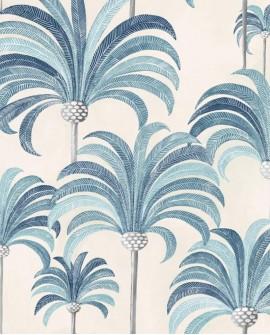 Tissu Thevenon La palmeraie Bleu azur fond crème