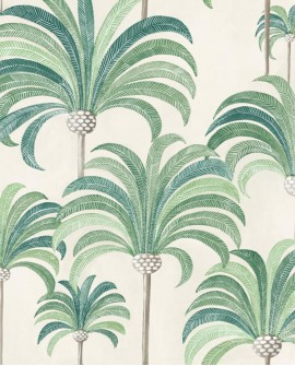 Tissu Thevenon La palmeraie Vert tropical fond crème