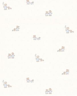 Papier peint enfant Lutèce Tartine & Chocolat Gaston L'Ourson Bleu 12091701