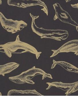 Papier peint Caselio Sea You Soon Whale Done Noir doré SYO102799298