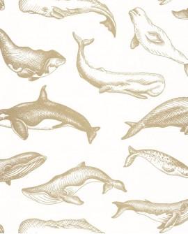 Papier peint Caselio Sea You Soon Whale Done Blanc doré SYO102790266