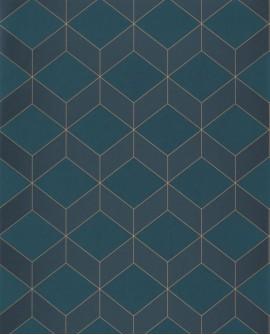 Papier peint géométrique Casadeco 1930 Metro Bleu MNCT85686337