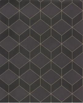 Papier peint géométrique Casadeco 1930 Metro Noir MNCT85689533