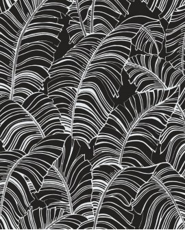 Papier peint exotique Lutece Bamako Feuilles Noir G78297