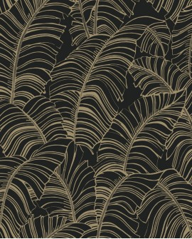 Papier peint exotique Lutece Bamako Feuilles Noir G78301