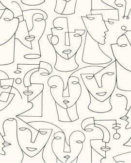 Papier peint graphique Portrait Gallery Blanc et noir GLRY86160116