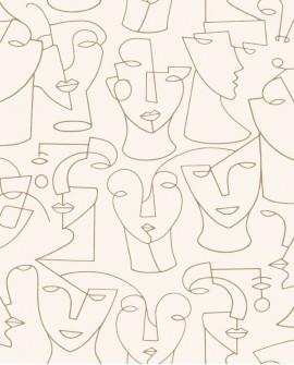 Papier peint graphique Portrait Gallery Beige GLRY86161204