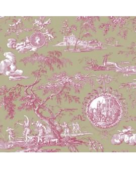Tissu Toile de Jouy Charles Burger Chasse de Diane Framboise/Olive