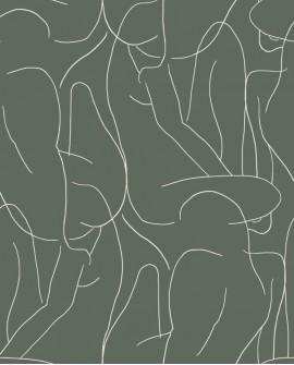 Papier peint graphique Gallery Academie Kaki GLRY86107321