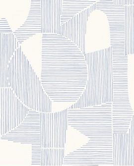 Papier peint géométrique Gallery Graphique Bleu GLRY86126320