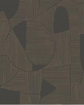 Papier peint géométrique Gallery Graphique Noir/taupe GLRY86129413