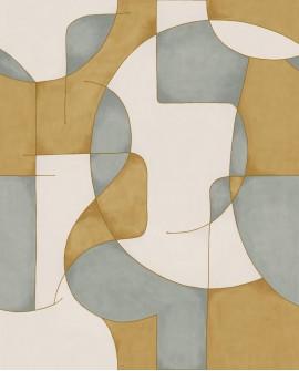 Papier peint géométrique Gallery Op'Art Bleu/or GLRY86096211