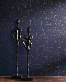 Papier peint graphique Portrait Gallery Bleu/beige GLRY86166415