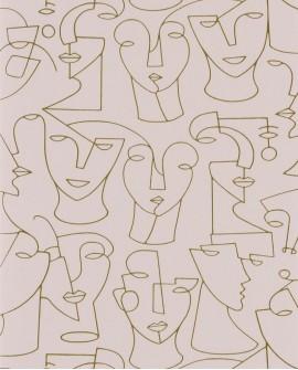 Papier peint graphique Portrait Gallery Camel/rose GLRY86164212