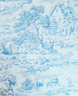 Tissu MFTA Toile de Jouy Matin Midi Soir coloris Bleu