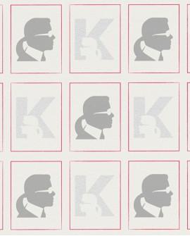 Papier peint géométrique Montecollino Karl Lagerfeld Baptiste Gris 378421